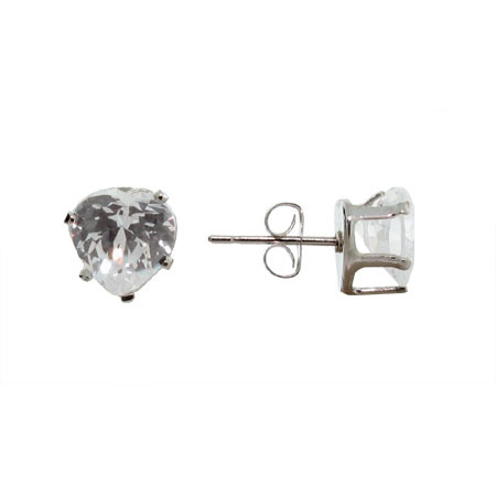 Heart Cut Sparkling White Cubic Zirconia Stud Earrings