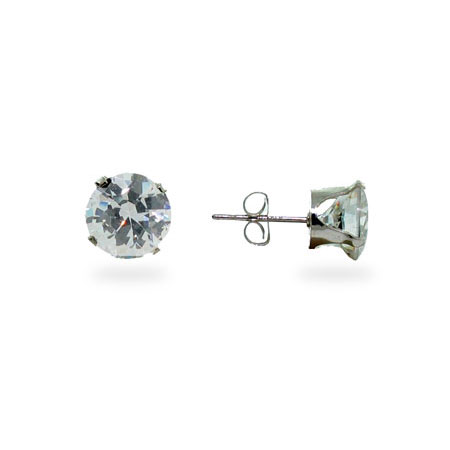 Sterling Silver Round Diamond 8mm CZ Stud Earrings
