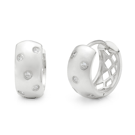 Tiffany Inspired Sterling Silver Etoile Huggy Earrings