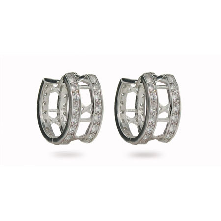 Tiffany Inspired Atlas Style Cubic Zirconia Hoop Earrings