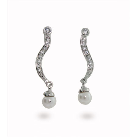 Swirl CZ Freshwater Pearl Sterling Silver Earrings