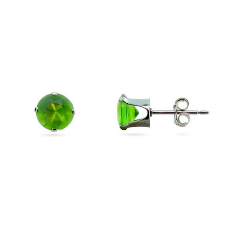 Sterling Silver 6mm Peridot Cubic Zirconia Stud Earrings