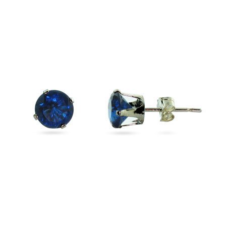 Sterling Silver 6mm Sapphire Cubic Zirconia Stud Earrings