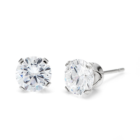 Sterling Silver Diamond 6mm Cubic Zirconia Stud Earrings