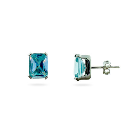Sterling Silver Aquamarine Cubic Zirconia Stud Earrings