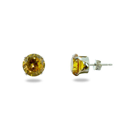 Sterling Silver Brilliant Cut 8mm Citrine CZ Stud Earrings