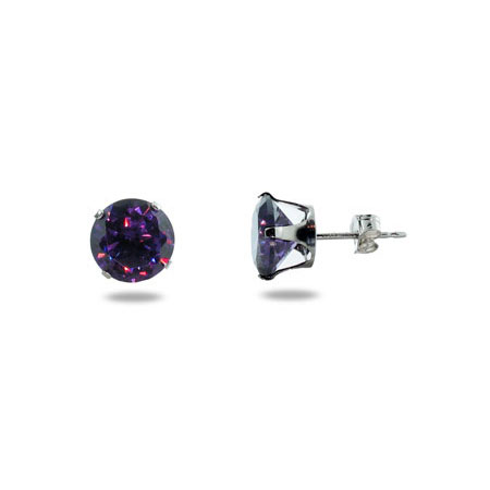 Sterling Silver Brilliant Cut 8mm Amethyst CZ Stud Earrings
