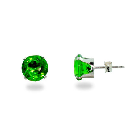 Peridot 8mm Sterling Silver Cubic Zirconia Stud Earrings