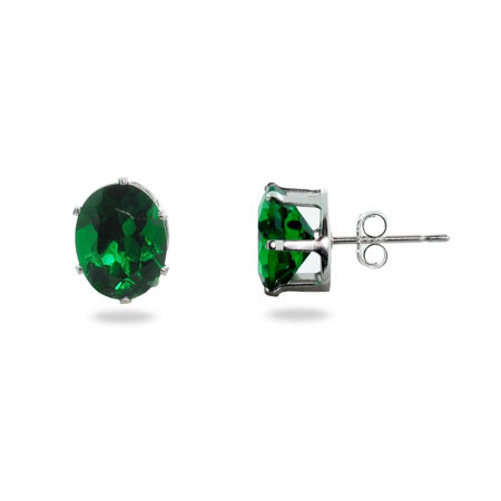 Sterling Silver Emerald Cubic Zirconia Oval Stud Earrings