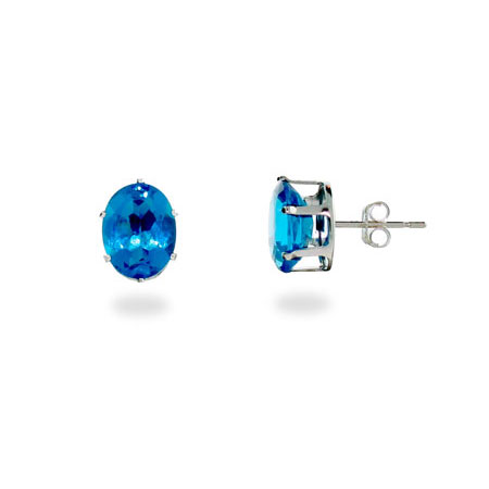 Blue Topaz Cubic Zirconia Sterling Silver Stud Earrings