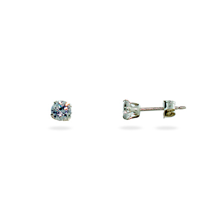 Sterling Silver 4mm Diamond Cubic Zirconia Stud Earrings