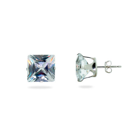 Sterling Silver 10mm Princess Cut Diamond CZ Stud Earrings