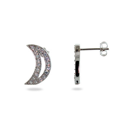 Tiffany Inspired Sterling Silver CZ Moon Stud Earrings