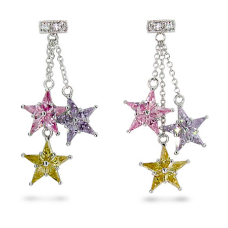 Tiffany Inspired Pastel CZ Sterling Silver Stardust Earrings