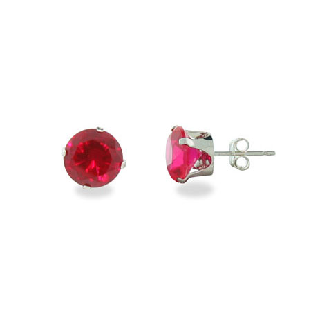 Sterling Silver 8mm Ruby Cubic Zirconia Stud Earrings