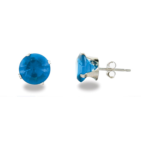 Sterling Silver 8mm Blue Zircon Stud Earrings