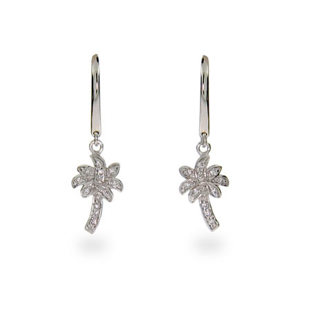 Tiffany Inspired Cubic Zirconia Palm Tree Earrings