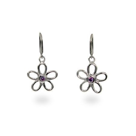 Tiffany Inspired Amethyst Flower Earrings