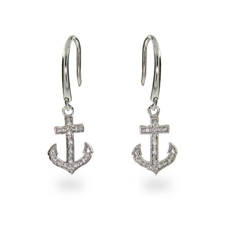 Tiffany Inspired CZ Anchor Earrings