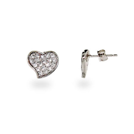 Sterling Silver Pave CZ Heart Stud Earrings