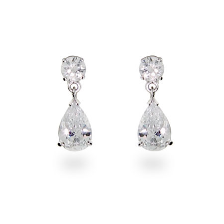 Oprah's Inspired Elegant Diamond Pear Drop Silver CZ Earrings