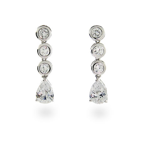 Salma's Sparkling Bezel Set CZ Teardrop Sterling Silver Earrings
