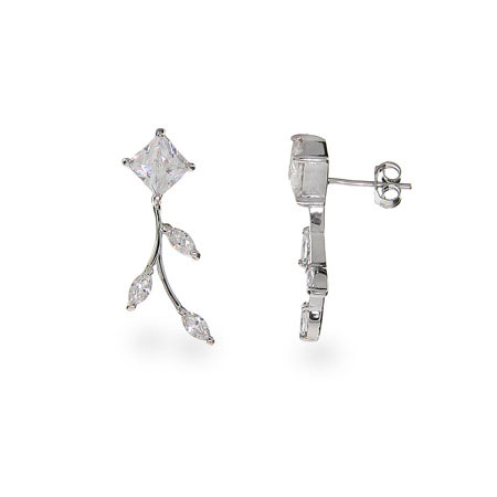 Sparkling Vine of Diamond CZ Leaf Earrings