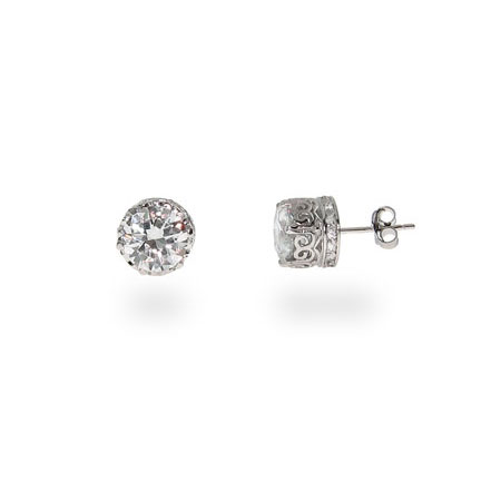 Jessica's Crown Set Star Cut Signity 8mm CZ Studs