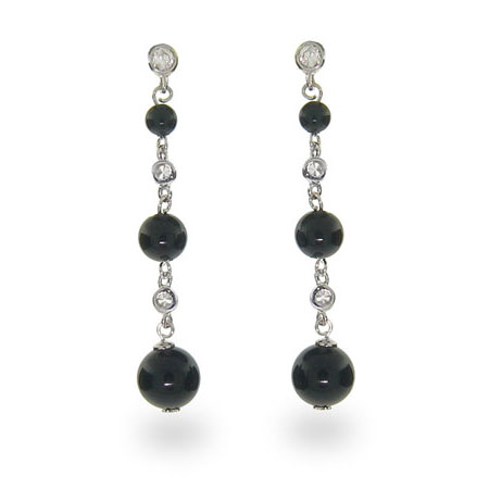 Tiffany Inspired Black Onyx Bead Silver Drop Earrings