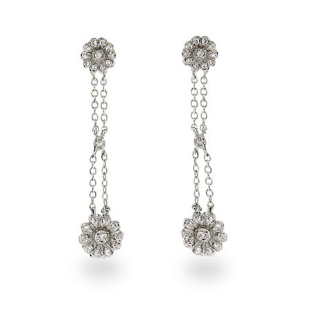 Tiffany Inspired Double Drop CZ Rose Earrings