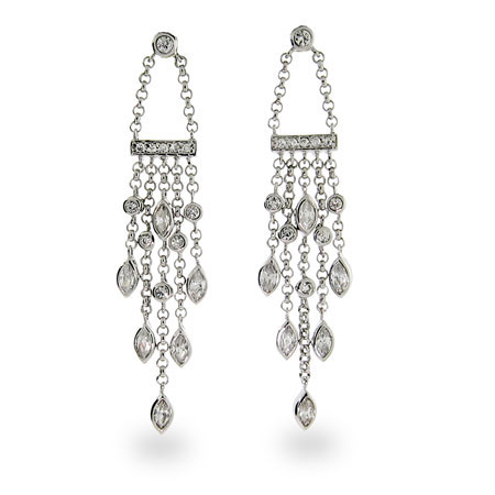 Cubic Zirconia Sterling Silver Sway Drop Earrings