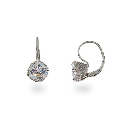 Angelina's Crown Set Diamond Star Cut CZ Leverback Earrings