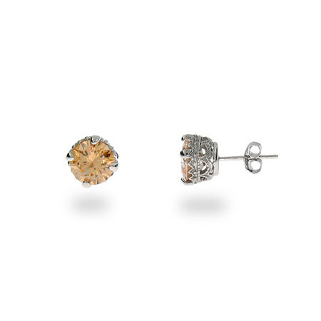 Halle's Crown Set Champagne Star Cut CZ Studs