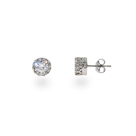 Angelina's Crown Set Diamond Star Cut 6mm CZ Studs