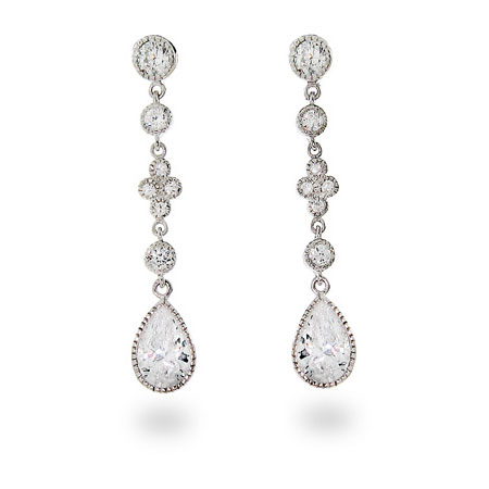 Diamond CZ Peardrop Dangles
