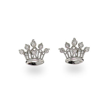 Sterling Silver Crown Jewels Cubic Zirconia Earrings