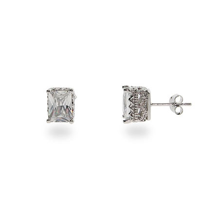 Angelina's Crown Set Rectangle Sterling Silver CZ Studs