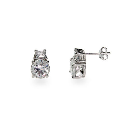 Glamorous Sterling Silver and CZ Double Stud Earrings