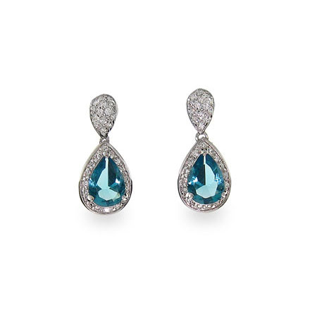 Jennifer's Sterling Silver CZ Glam Blue Peardrop Earrings