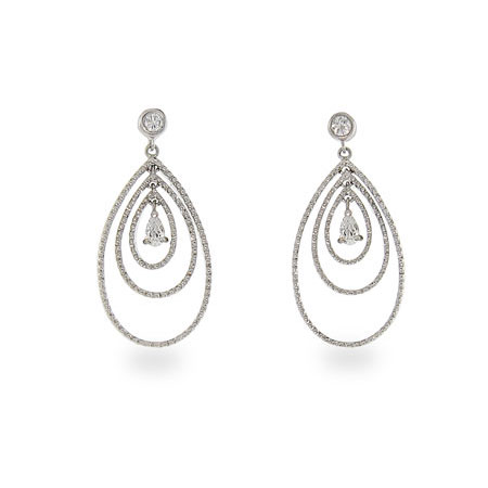 Celebrity Style Sterling Silver CZ Triple Peardrop Earrings