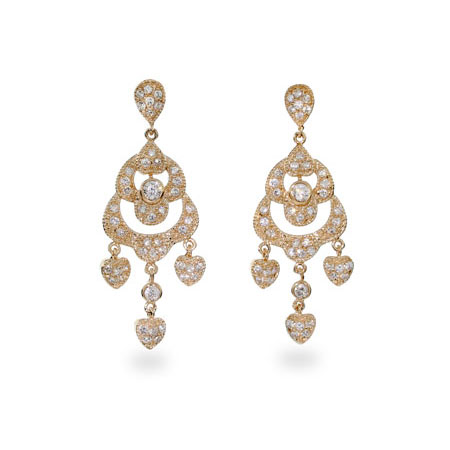 Glamorous Pave CZ Chandelier Gold Vermeil Earrings