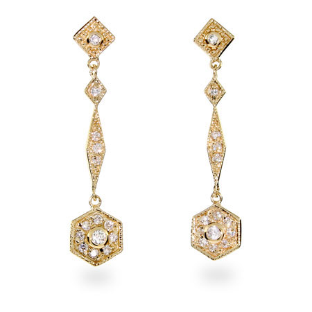 Shawna's Thin CZ Gold Vermeil Drop Earrings