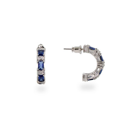 Elegant Sapphire & Clear Cubic Zirconia Hoop Earrings