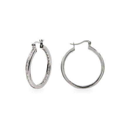 Channel Set 1.25 in Inside Out Sterling Silver CZ Hoops