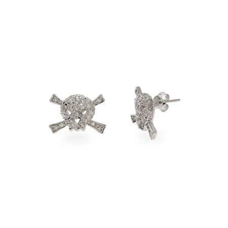 Pave CZ Skull & Crossbones Stud Earrings-CZ Skull Earrings