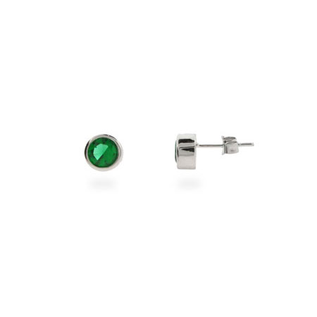 Emerald Green Cubic Zirconia Bezel Set Stud Earrings