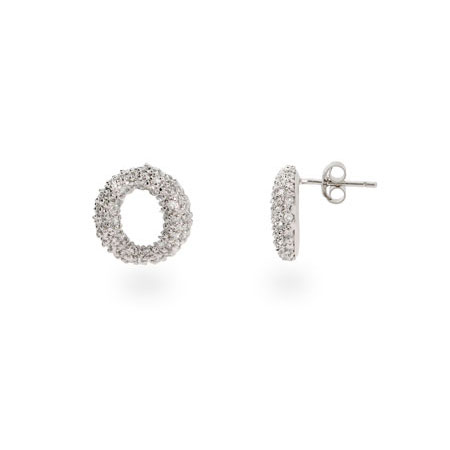 Tiffany Inspired Sevillana Pave CZ O Stud Earrings