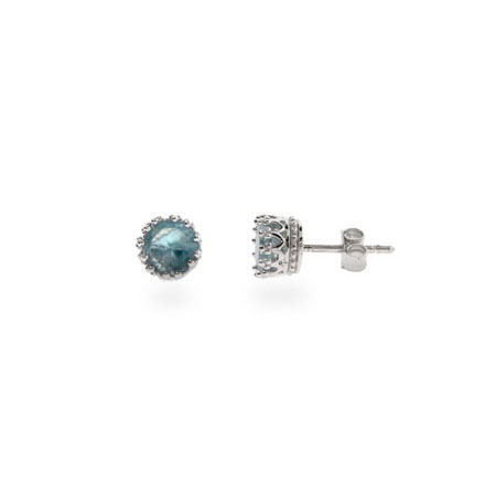 Sterling Silver Crown Set Blue Topaz CZ Studs