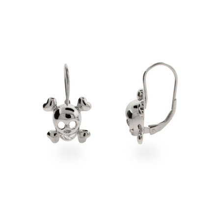 Sterling Silver Skull Leverback Earrings