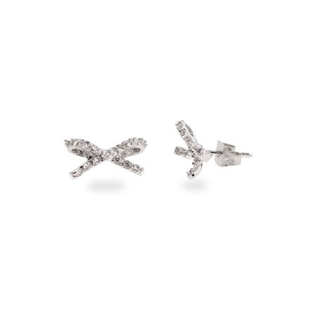 Payton's Shimmering CZ Bow Stud Earrings